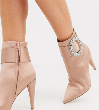 Asos Design DESIGN Wide Fit Eclectic rhinestone buckle boots in pink