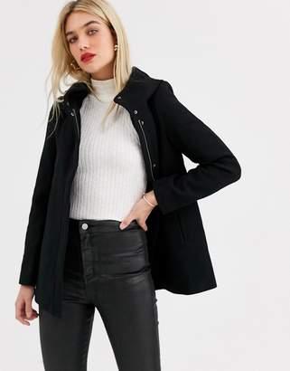 Vero Moda hooded wool coat-Black