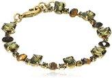 "Sorrelli Green Tapestry"" Semi-Precious Oval And Emerald-Cut Crystal Line Bracelet"