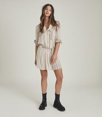 Reiss Alba - Striped Shirt Dress in Cream