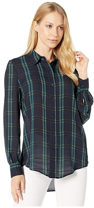 1 STATE 1.STATE Long Sleeve Patch Pocket Sleek Plaid Button Down Blouse