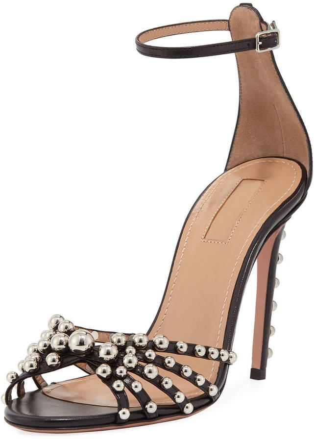 Aquazzura Bon Bon Beaded Ankle-Strap Sandal