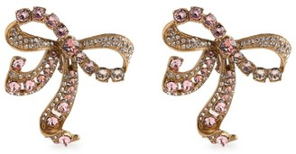 Dolce & Gabbana Crystal-Embellished Bow Clip-On Earrings