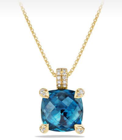 David Yurman Châtelaine 11mm Faceted Hampton Blue Topaz & Diamond Pendant Necklace