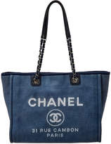 Chanel Navy Blue Canvas Large Deauville Tote