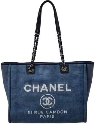 Chanel Dark Blue Canvas Deauville Tote