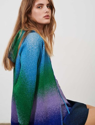 Maje Lurex knit hooded cardigan