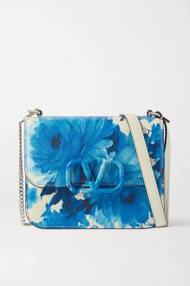 Valentino Garavani Vsling Small Floral-print Textured-leather Shoulder Bag - Blue