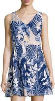 Romeo & Juliet Couture Cutout Leaf-Print Sleeveless Dress, Beige/Blue