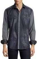 Robert Graham Limited Edition Mask Embroidered Sport Shirt, Black