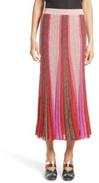 Missoni Women's Metallic Knit Colorblock Pleated Skirt