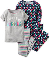Carter's Baby Girls' 4-Pc. I Wake Up Awesome Pajama Set