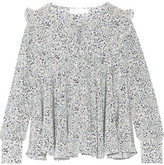 Co Ruffled Floral-print Silk Crepe De Chine Blouse - x small