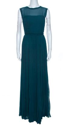 Carolina Herrera Green Crepe Pleated Sleeveless Maxi Dress L