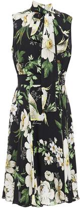 Carolina Herrera + Rose Cumming Tie-neck Printed Silk-chiffon Dress