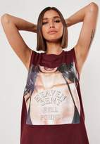 Missguided Burgundy Oversized Heaven Sent Graphic Tank Dress
