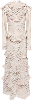 Zimmermann Unbridled Battenberg Ruffled Crochet-trimmed Embroidered Ramie-blend Midi Dress