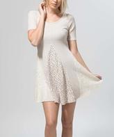 Oatmeal Crochet-Accent A-Line Dress