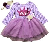 LMC Long Sleeve One Year Old First Birthday Tutu Dress with Handmade Matching Elastic Headband