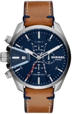 Diesel Men's Chronograph MS9 Chrono Brown Leather Strap Watch 47mm