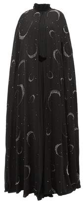 Givenchy Crystal Beaded Moon Silk Chiffon Cape - Womens - Black Multi