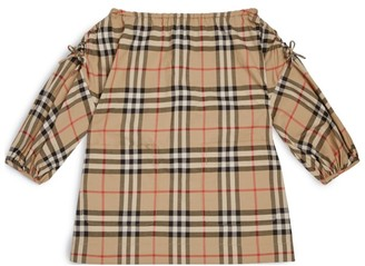Burberry Kids Off-The-Shoulder Dress