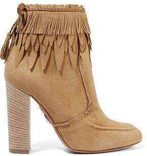 Aquazzura Tiger Lily Leather-Trimmed Fringed Suede Ankle Boots