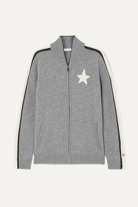 Bella Freud Billie Intarsia Cashmere-blend Track Jacket - Gray