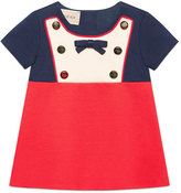 Gucci Short-Sleeve Button & Bow Colorblock Dress, Size 12-36 Months