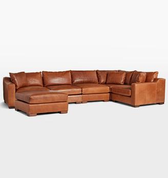 Rejuvenation Sublimity Classic 6-Piece Chaise Leather Sectional Sofa
