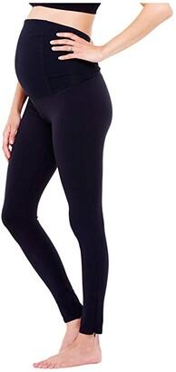 Ingrid & Isabel Maternity Active Leggings w/ Crossover (Jet Black) Women's Casual Pants