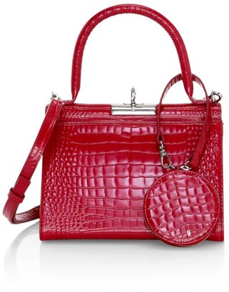 Gu De Play Croc-Embossed Leather Satchel