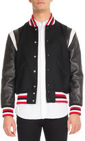 Givenchy Striped Bomber Jacket with Leather Sleeves, Black