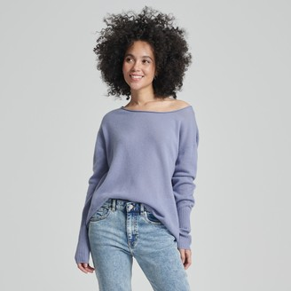Naadam Cashmere Boatneck Sweater Blue Gray