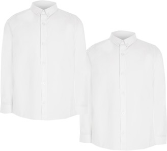 River Island Boys White long sleeve twill shirt 2 pack