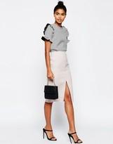 Asos Premium Bonded Pencil Skirt with Raw Hem Detail