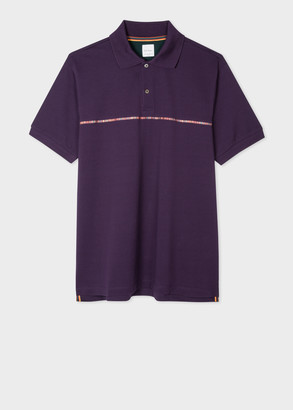 Paul Smith Men's Purple Cotton-Pique Polo Shirt with 'Signature Stripe' Trim