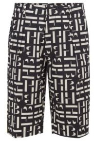 HUGO BOSS Monogram Print Relaxed Fit Shorts In Stretch Cotton Poplin - Black