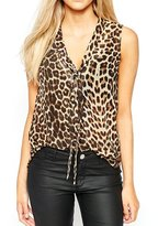 uxcell® Women Sleeveless Pussybow Neck Leopard Prints Top M