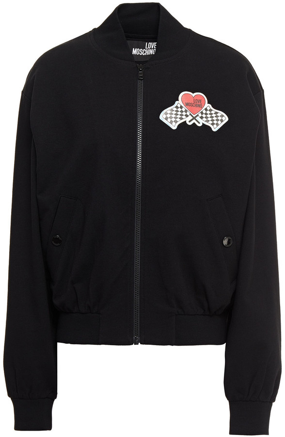 Love Moschino Printed French Cotton-blend Terry Bomber Jacket