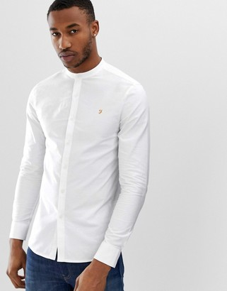 Farah Brewer slim fit grandad collar shirt in white