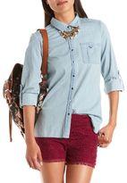 Charlotte Russe Long-Sleeve Chambray Tunic