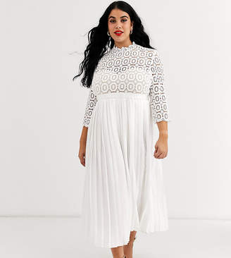 Little Mistress Plus midi length 3/4 sleeve lace dress in white