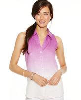 INC International Concepts Sleeveless Ombré Linen Shirt