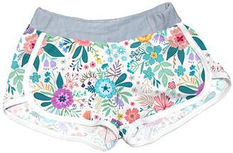 Urban Smalls Girls' Casual Shorts Multi - White Flowers Shorts - Girls