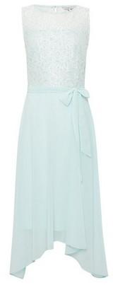 Dorothy Perkins Womens Billie & Blossom Tall Mint Lace Hanky Hem Midi Dress