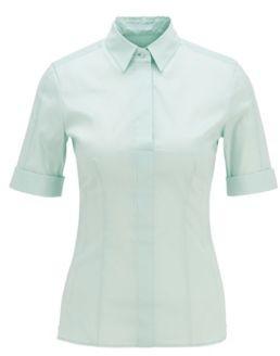 HUGO BOSS Slim-fit cotton-blend blouse with mock placket