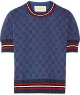 Gucci Metallic Jacquard-knit Sweater - Blue