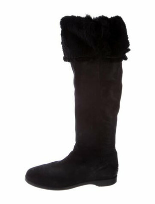 Jimmy Choo Leather Faux Fur Trim Riding Boots Black