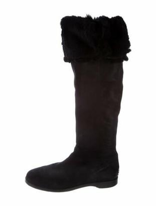Jimmy Choo Leather Faux Fur Trim Riding Boots Black